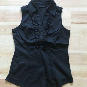 Black sleeveless ruffle stretch dress shirt XS